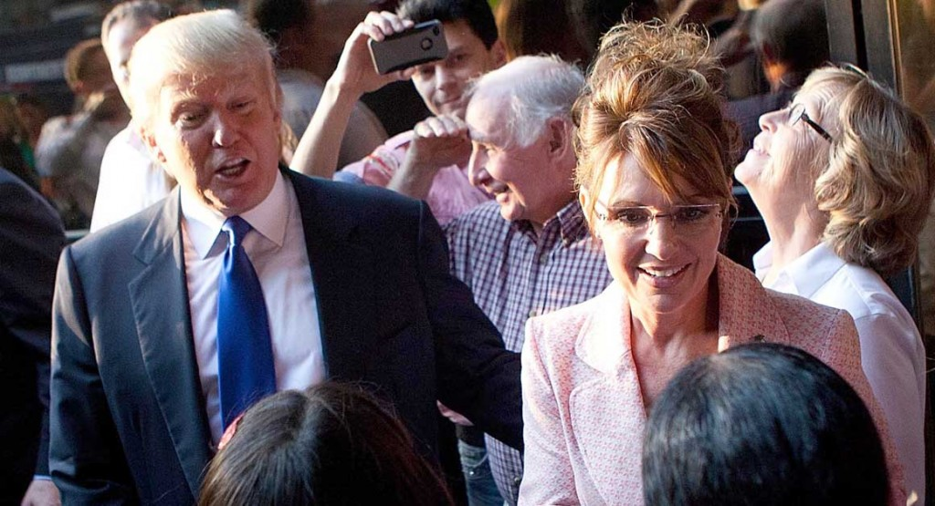 Sarah Palin Meets With Donald Trump In New York During Her Bus Tour