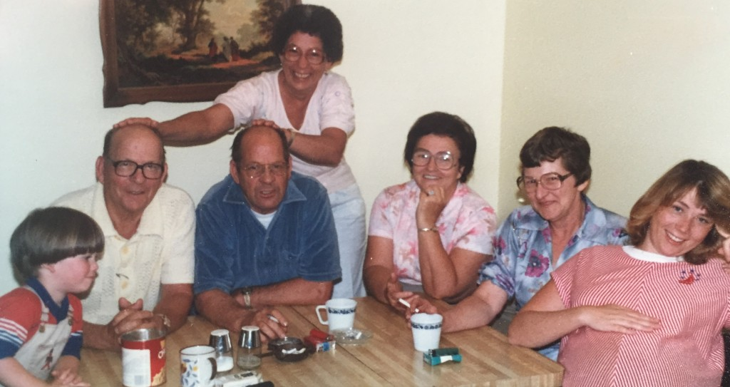 Mama with her brothers, Carl & Charlie, and their wives, Blanche & Joyce, visiting me when I was pregnant with the twins.