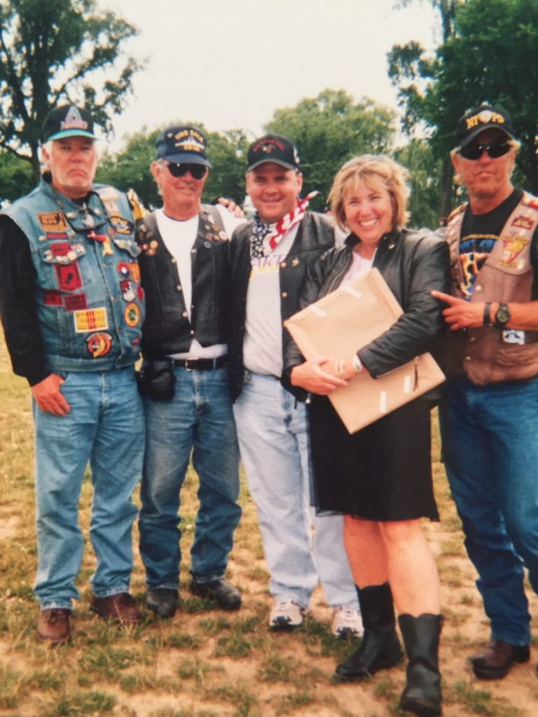 Ten days on the road with RUN FOR THE WALL. Terry and I on Memorial Day with a group of veterans who also made the unforgettable trip.